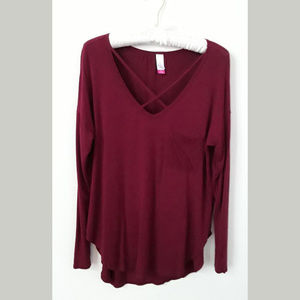Soft tunic top with criss-cross neckline